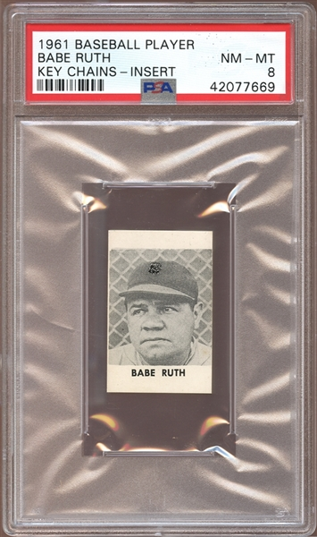1961 Baseball Player Keychains Inserts Babe Ruth PSA 8 NM/MT