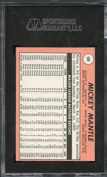 1969 Topps #500 Mickey Mantle SGC 60 EX 5