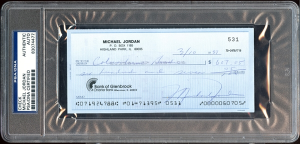 Michael Jordan Signed Check PSA/DNA
