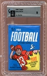 1968 Topps Football Unopened Wax Pack GAI 9 MINT