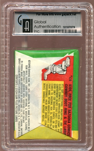 1964 Topps Baseball Series 3 Unopened Wax Pack GAI 8 NM/MT