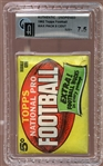 1962 Topps Football Unopened 5 Cent Wax Pack GAI 7.5 NM+