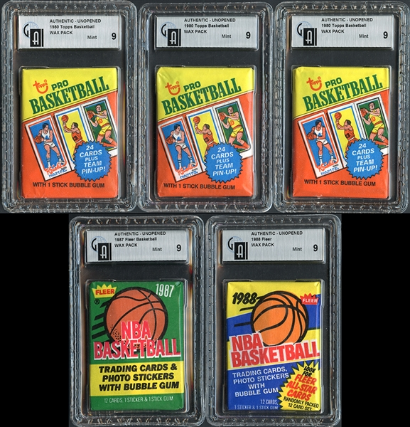 1980-81, 1987-88 and 1988-89 Group of (5) Basketball Unopened Wax Packs