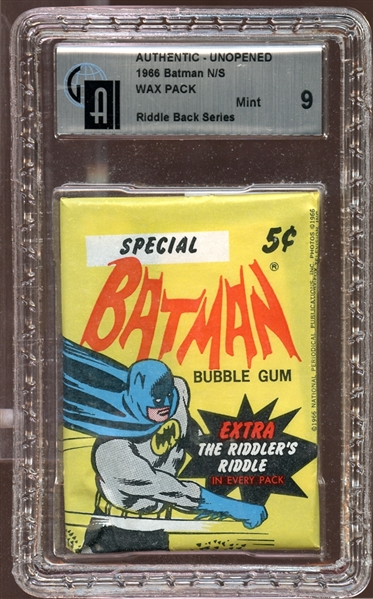 1966 Topps Batman Riddle Back Unopened Wax Pack GAI 9 MINT