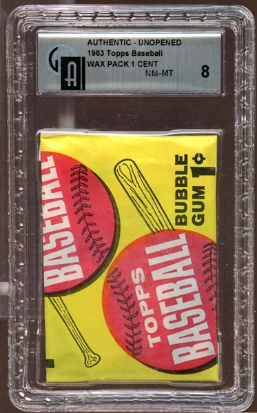 1963 Topps Baseball Unopened Wax Pack GAI 8 NM/MT