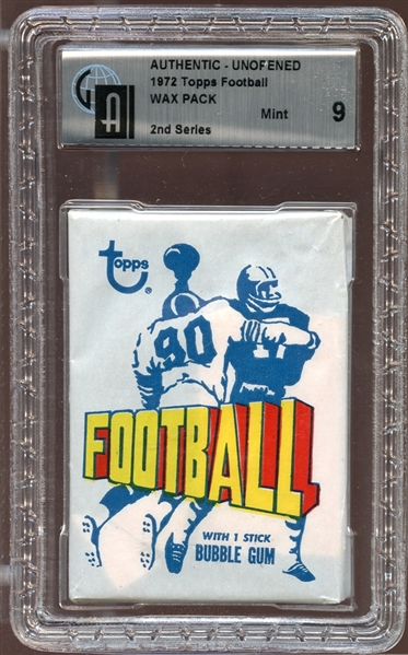 1972 Topps Football Unopened Wax Pack GAI 9 MINT