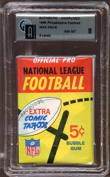1966 Philadelphia Football Unopened Wax Pack GAI 8 NM/MT
