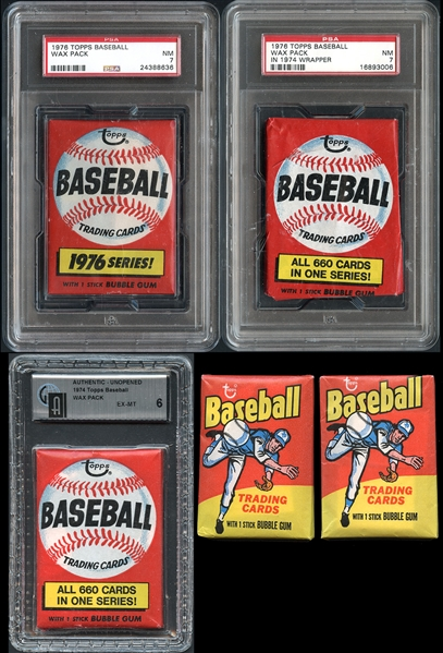 1974-76 Topps Baseball Group of (5) Unopened Wax Packs