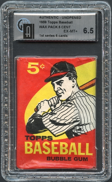 1959 Topps Baseball Wax Pack 5 Cent GAI 6.5 EX/MT+