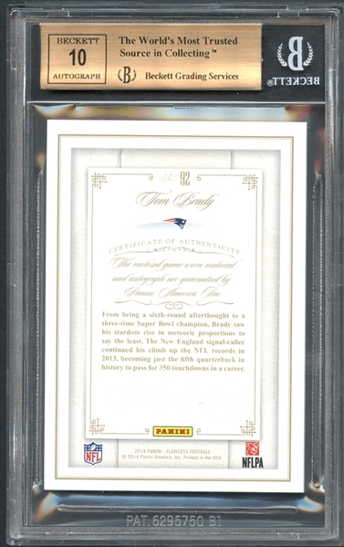 2014 Panini Flawless Patches Auto #92 Tom Brady/25 Beckett 9.5 GEM MINT