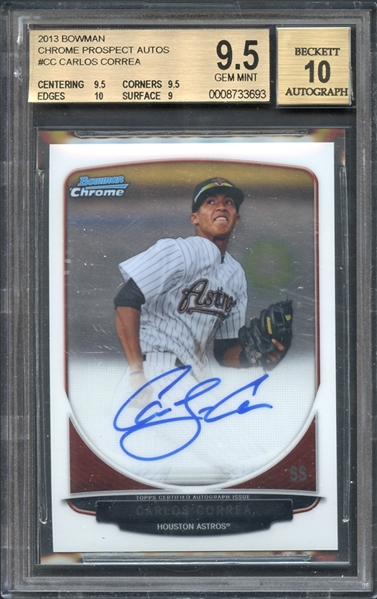 2013 Bowman Chrome Prospects #CC Carlos Correa Auto Beckett 9.5 GEM MINT