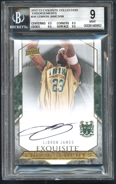 2012-13 Exquisite Collection Endorsements #JA Lebron James/99 Auto Beckett 9 MINT