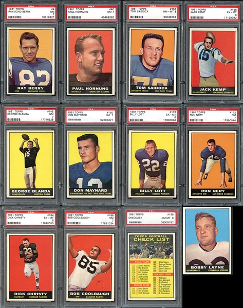 1961 Topps Football Complete Set with PSA Graded