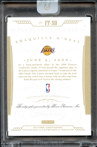 2014-15 Panini Flawless Finishes #FF-SO Shaquille O'Neal Auto 4/20