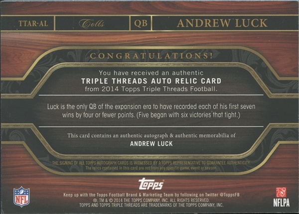 2014 Topps Triple Threads Andrew Luck Auto Jersey Card 13/18