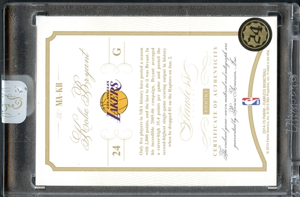 2014 Panini Flawless #MA-KB Kobe Bryant Auto Patch 18/20