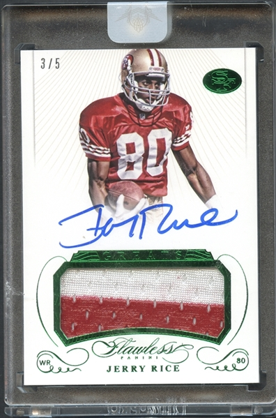 2015 Panini Flawless Emerald Greats #GPA-JR Jerry Rice Patch Auto 3/5
