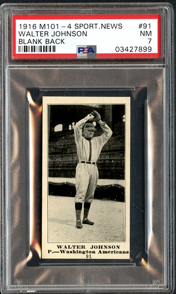 1916 M101-4 Sporting News #91 Walter Johnson Blank Back PSA 7 NM