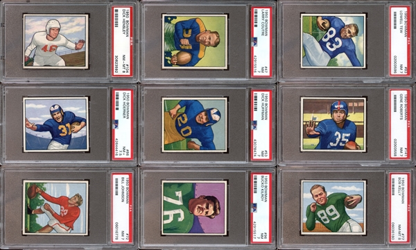 1950 Bowman Football Partial Set (113/144) with PSA Graded
