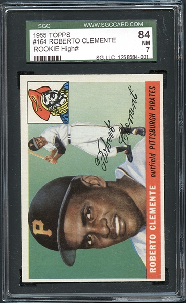 1955 Topps #164 Roberto Clemente Rookie SGC 84 NM 7