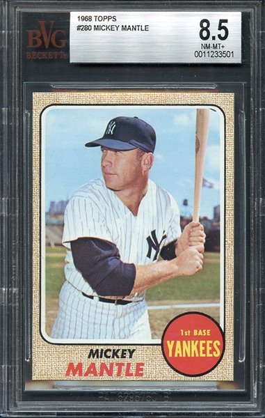 1968 Topps #280 Mickey Mantle BVG 8.5 NM/MT+