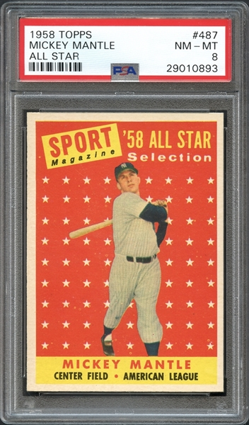 1958 Topps #487 Mickey Mantle All Star PSA 8 NM/MT