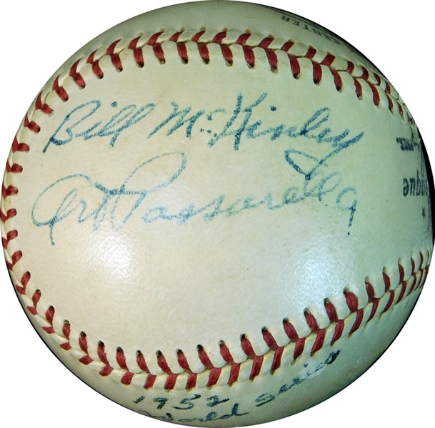 1952 World Series Umpires Multi-Signed ONL (Giles) Ball with (6) Signatures