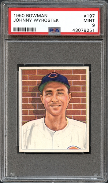 1950 Bowman #197 Johnny Wyrostek PSA 9 MINT