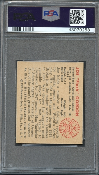 1950 Bowman #129 Joe Gordon PSA 9 MINT