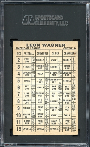 1961 Topps Dice Game Leon Wagner SGC 5 EX