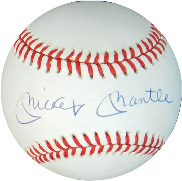 Mickey Mantle Single-Signed OAL (Brown) Ball JSA