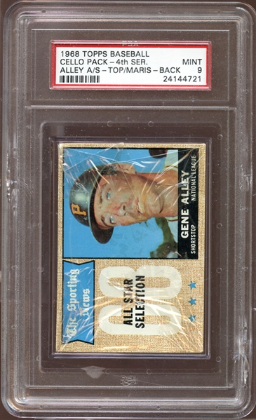 1968 Topps Unopened Cello Pack 4th Series Maris on Back PSA 9 MINT