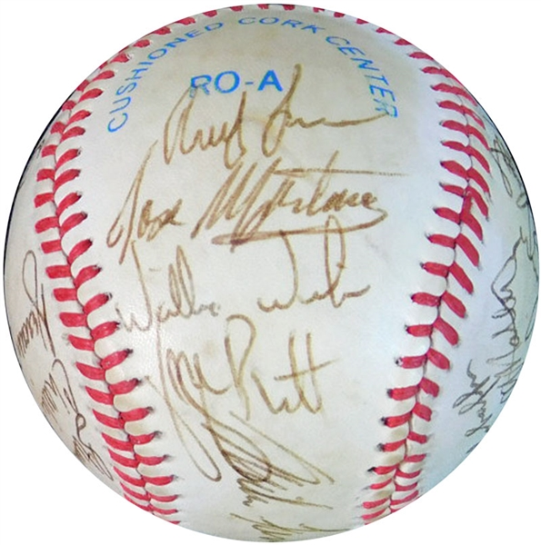 1986 Kansas City Royals Team-Signed OAL (Brown) Ball with (20) Signatures