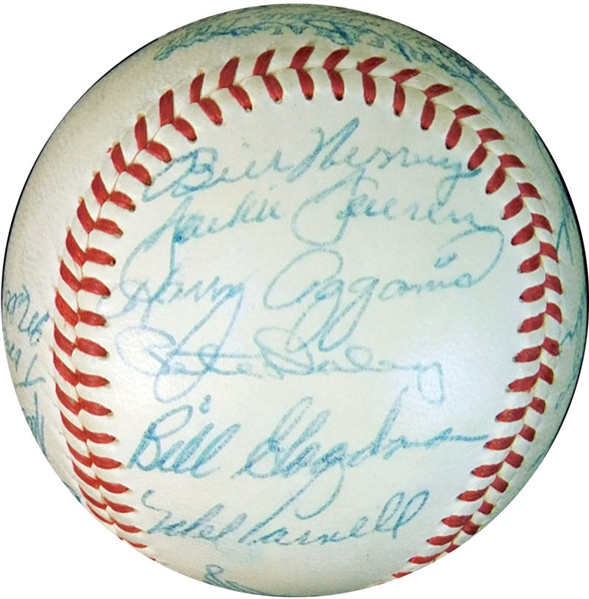 1955 Boston Red Sox Team-Signed OAL (Harridge) Ball with (22) Signatures Featuring Harry Agganis