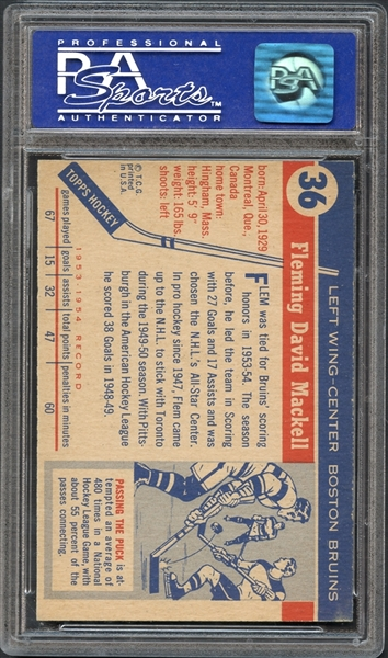 1954 Topps #36 Fleming Mackell PSA 8 NM-MT