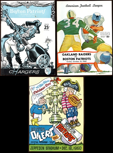 1960 Boston Patriots Program Collection of (3)