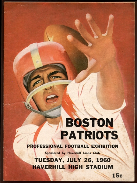 Extremely Rare 1960 Boston Patriots Program to the First Pre-Season Intersquad Scrimmage-The First Program in Team History