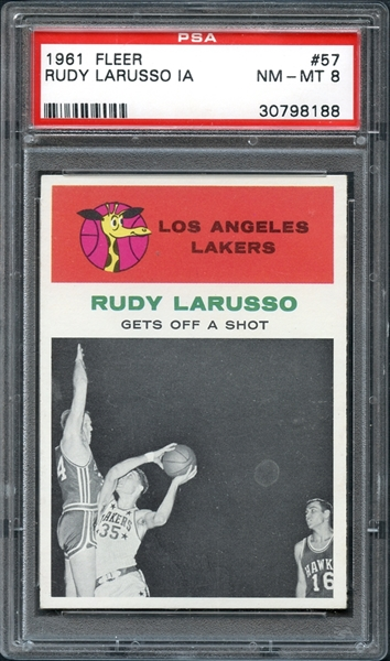 1961 Fleer #57 Rudy Larusso In Action PSA 8 NM-MT