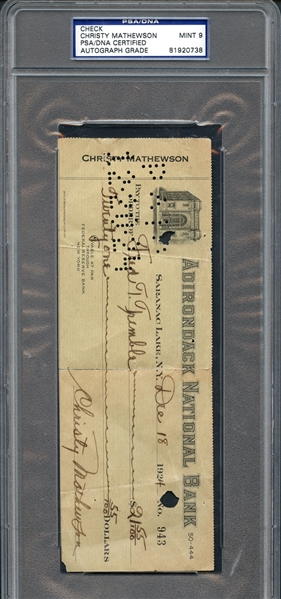 Christy Mathewson Signed Check PSA/DNA MINT 9