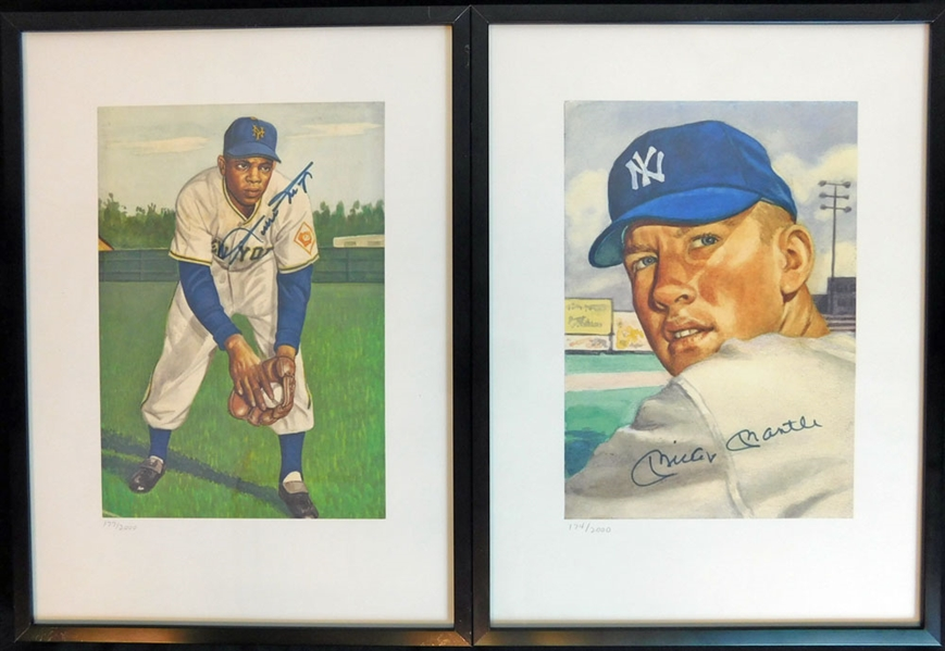 Mickey Mantle and Willie Mays Signed Lithograph Group of (2) Featuring 1953 Topps Artwork