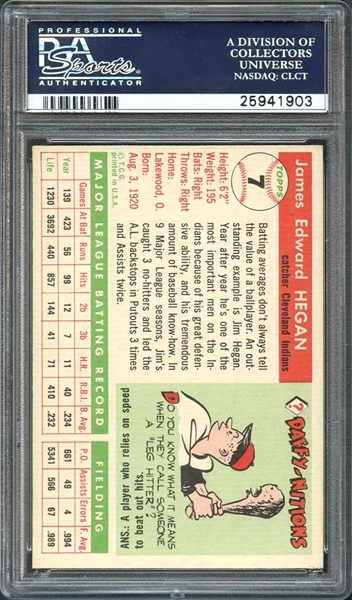 1955 Topps Jim Hegan PSA 8 NM-MT