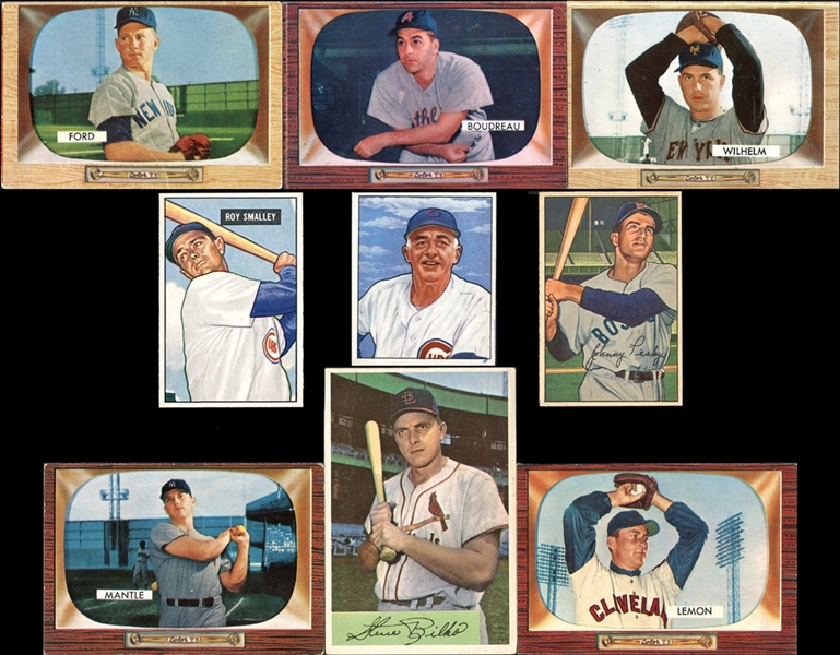 1950-55 Bowman Shoebox Collection Of More Than 400 Cards Including 1955 Bowman Partial Set with Mantle