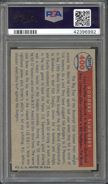1957 Topps #400 Dodgers' Sluggers Furillo/Hodges/Camp/Snider PSA 9 MINT