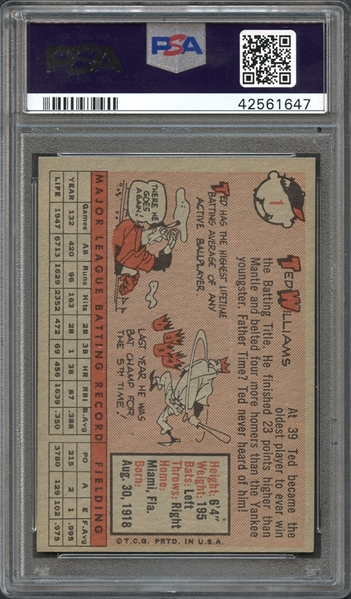 1958 Topps #1 Ted Williams PSA 8 NM-MT