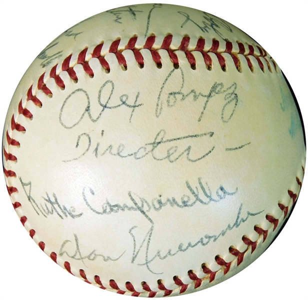 1950s Negro League Star and HOF Multi-Signed OAL (Brown) Ball with (15) Signatures Featuring Campanella and Alex Pompez
