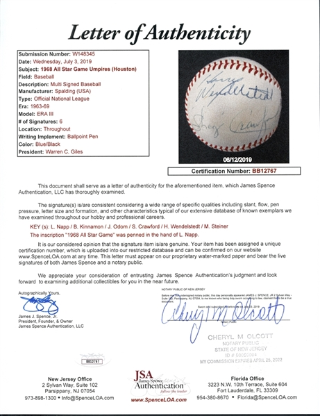 1968 All Star Game Umpires Signed ONL (Giles) Ball with (6) Signatures