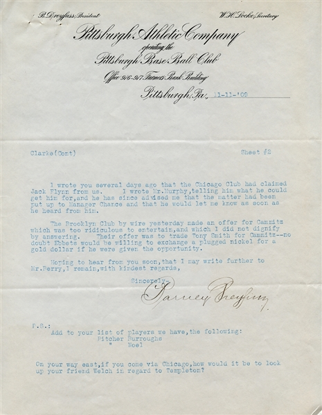 1909 Barney Dreyfuss Signed Typed Letter On Pittsburgh Athletic Company Letterhead JSA