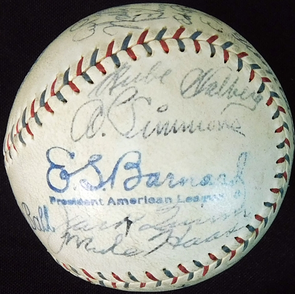 1930 World Champion Philadelphia Athletics Team-Signed OAL (Barnard) Ball with (20) Signatures Featuring Foxx, Grove, Cochrane and Simmons