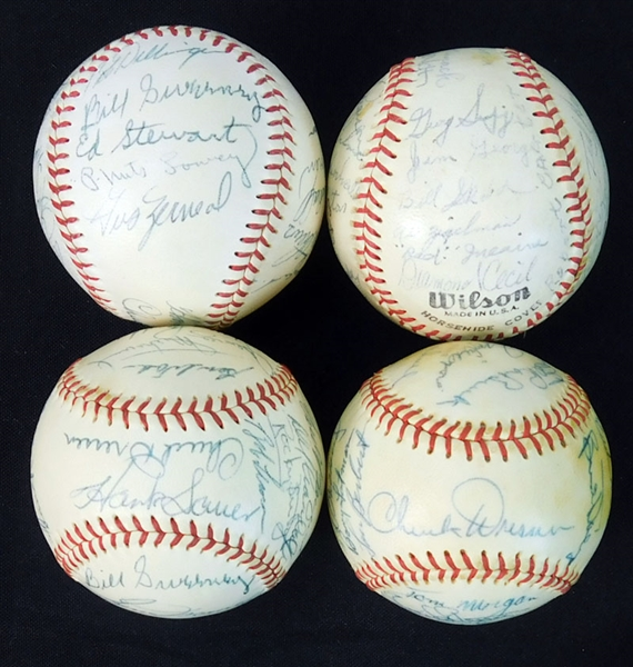 1950s PCL and MLB Stars Multi-Signed Official Ball Group of (4) with Mathews, Lemon Etc.