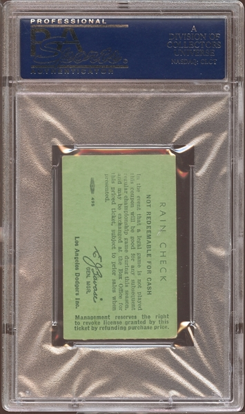 1962 Los Angeles Dodgers Ticket Stub Stan Musial Hit #3431 PSA AUTHENTIC